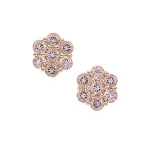 3.20ct Cherry Blossom Morganite 9K Gold Tomas Rae Earrings