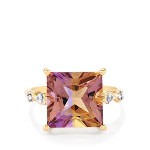 Anahi Ametrine Ring with Diamond in 10k Gold 5.92cts