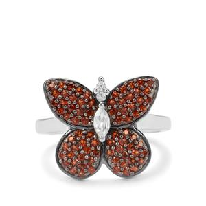 Anthill Garnet & White Zircon Sterling Silver Butterfly Ring ATGW 1cts