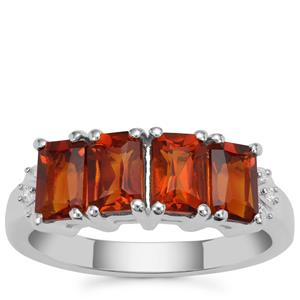 Madeira Citrine Ring with White Zircon in Sterling Silver 2.03cts