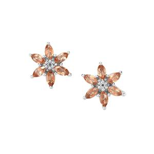 Sopa Andalusite Earrings with White Topaz in Sterling Silver 0.97ct
