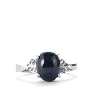 Madagascan Blue Star Sapphire Ring with Blue Sapphire in Sterling Silver 4.65cts