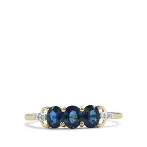 Australian Blue Sapphire Ring with Diamond in 10K Gold 0.96ct