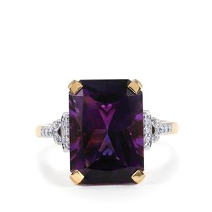 Moroccan Amethyst Ring with Diamond in 18K Gold 6.40cts
