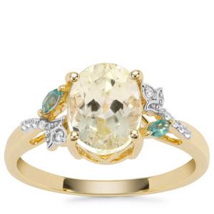Minas Novas Hiddenite, Fern Green Topaz Ring with White Zirocn in 9K Gold 2.61cts