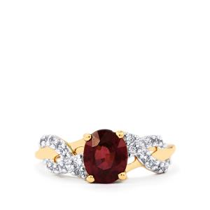 Malawi Garnet Ring with White Zircon in 10k Gold 1.93cts