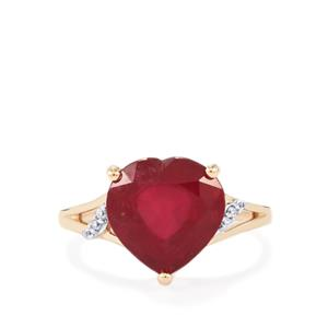 Malagasy Ruby Ring with White Zircon in 10K Gold 5.90cts (F)