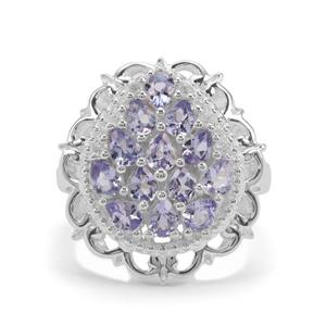 Tanzanite & White Zircon Sterling Silver Ring ATGW 2.09cts