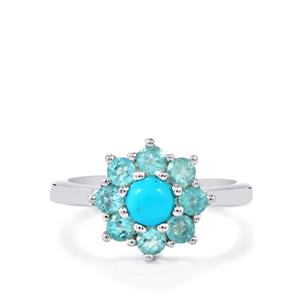 Sleeping Beauty Turquoise & Madagascan Blue Apatite Sterling Silver Ring ATGW 1.38cts