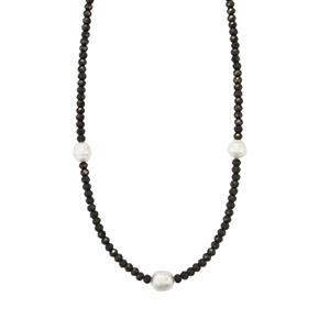 South Sea Cultured Pearl Graduated Bead Necklace with Black Spinel in Sterling Silver