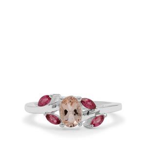 Zambezia Morganite & Oyo Pink Tourmaline Sterling Silver Ring ATGW 0.94ct
