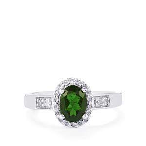 Chrome Diopside & White Topaz Sterling Silver Ring ATGW 1.37cts