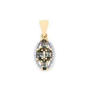 Mahenge Blue Spinel Pendant with White Zircon in 10k Gold 1.06cts