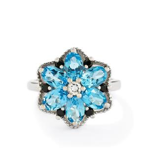 Swiss Blue, White Topaz & Black Spinel Sterling Silver Ring ATGW 3.59cts