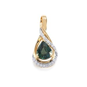 Nigerian Blue Sapphire Pendant with Diamond in 18k Gold 1.13cts