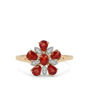 Songea Ruby Ring with Diamond in 9K Gold 1.32cts