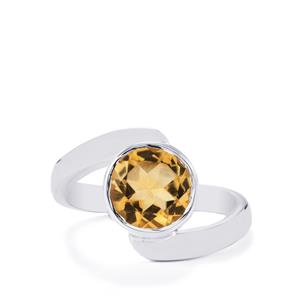 2.50ct Diamantina Citrine Sterling Silver Aryonna Ring