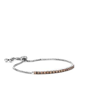 1ct Champagne Diamond Sterling Silver Slider Bracelet