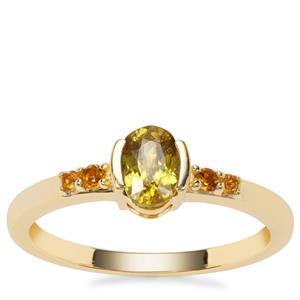 Ambilobe Sphene Ring with Diamantina Citrine in 9K Gold 0.67ct