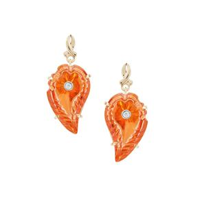 Lehrer Flame Cut Padparadscha Quartz Earrings with Diamond in 9K Gold 18cts