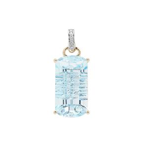Lehrer Matrix Cut Sky Blue Topaz & Diamond 9K Gold Pendant ATGW 15.34cts