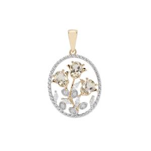 Csarite® Pendant with White Zircon in 9K Gold 1.34ct