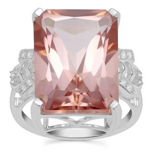 Galileia Topaz Ring with White Zircon in Sterling Silver 19.64cts