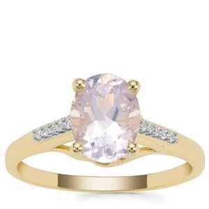 Sapucaia Quartz Ring with White Zircon in 9K Gold 1.87cts