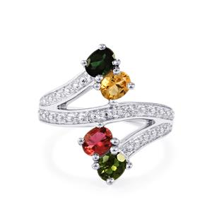 Rainbow Tourmaline Ring  in Sterling Silver 1.46cts
