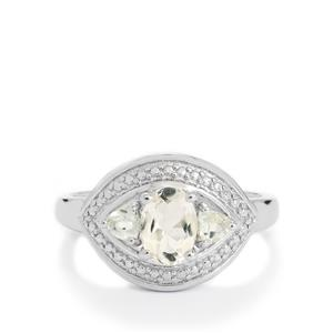Zambezia Morganite Ring with White Topaz in Rose Gold Plated Sterling Silver 0.92ct
