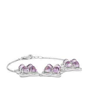 Rose De France Amethyst Bracelet with White Zircon in Sterling Silver 13.96cts