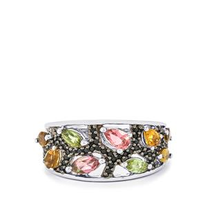 Rainbow Tourmaline Ring with Black Spinel in Sterling Silver 1.66cts