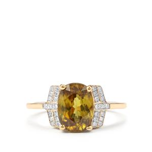 Ambilobe Sphene Ring with Diamond in 18k Gold 3.04cts