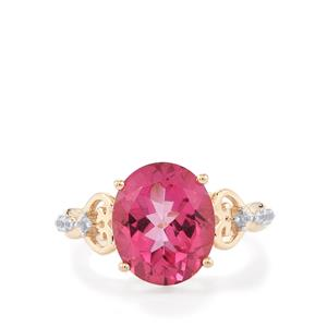 Mystic Pink Topaz Ring with White Zircon in 9K Gold 5.70cts