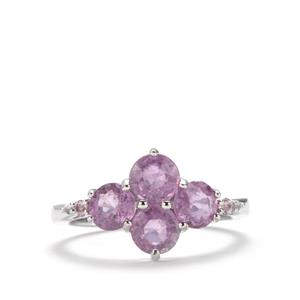 Ilakaka Hot Pink Sapphire, Pink Sapphire Ring with White Topaz in Sterling Silver 3.21cts (F)