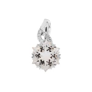 Wobito Snowflake Cut Itinga Petalite Pendant with White Zircon in 9K White Gold 3.86cts