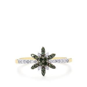 Green Diamond Ring with White Diamond in 9K Gold 0.26ct