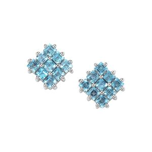 Swiss Blue Topaz Earrings in Sterling Silver 3.50cts