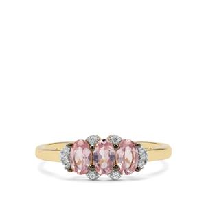 Pink Spinel Ring with White Zircon in 9K Gold 0.92ct