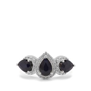 Madagascan Blue Sapphire Ring with White Zircon in Sterling Silver 3.17cts