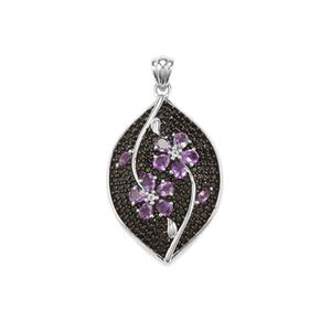 Rose De France Amethyst, Black Spinel Pendant with White Topaz in Sterling Silver 4.09cts