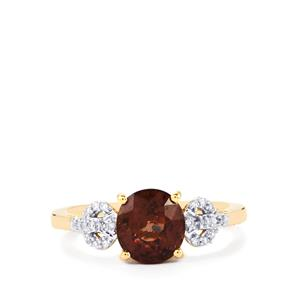 Bekily Color Change Garnet Ring with Diamond in 18k Gold 2.56cts