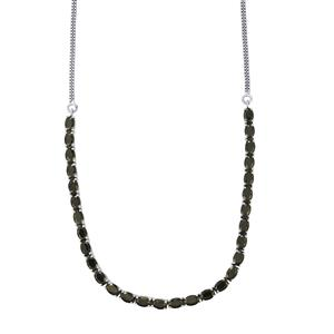 19ct Black Spinel Sterling Silver Necklace
