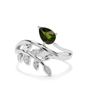 Chrome Diopside & White Zircon Sterling Silver Ring ATGW 0.76cts