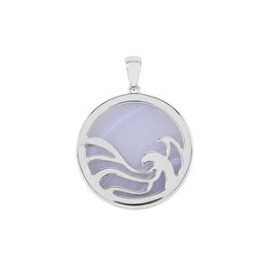 Blue Lace Agate Pendant in Sterling Silver 22.38cts
