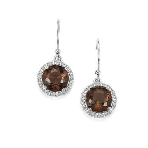 Lotus Cut Smokey Quartz Earrings with White Topaz in Sterling Silver 4.20cts