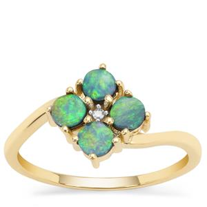 Crystal Opal on Ironstone Ring with Diamond in 9K Gold