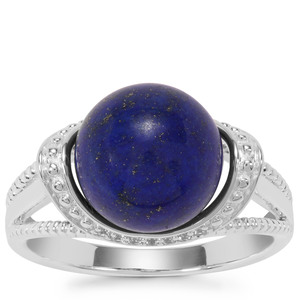 Sar-i-Sang Lapis Lazuli Ring with White Zircon in Sterling Silver 7.93cts