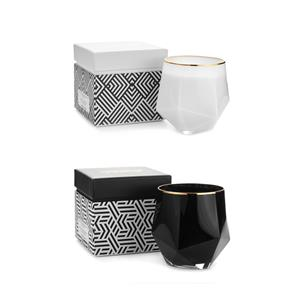 Gem Auras Gold Rimmed Luxury Candles with Gemstones Available .01=Black / .02=WhiteWhite