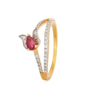 Montepuez Ruby Ring with Diamond in 9K Gold 0.5ct
